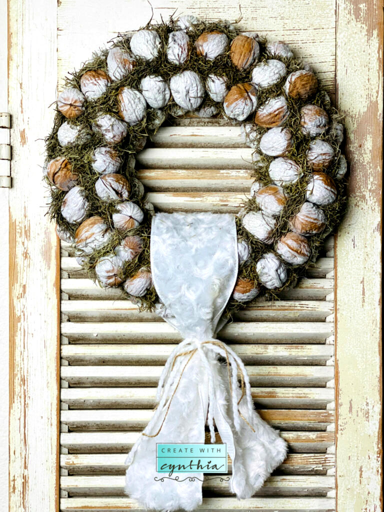 Walnut wreath by Create With Cynthia, featured on DIY Salvaged Junk Projects 510 on Funky Junk Interiors