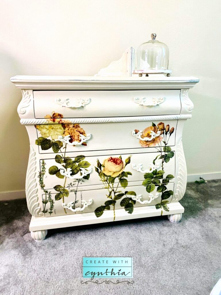 Painted dresser with flower transfers by Create With Cynthia, featured on DIY Salvaged Junk Projects 510 on Funky Junk Interiors