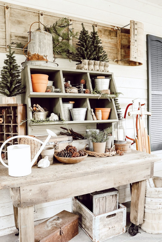 Cozy winter potting bench by French Creek Farmhouse, featured on DIY Salvaged Junk 511 on Funky Junk Interiors.