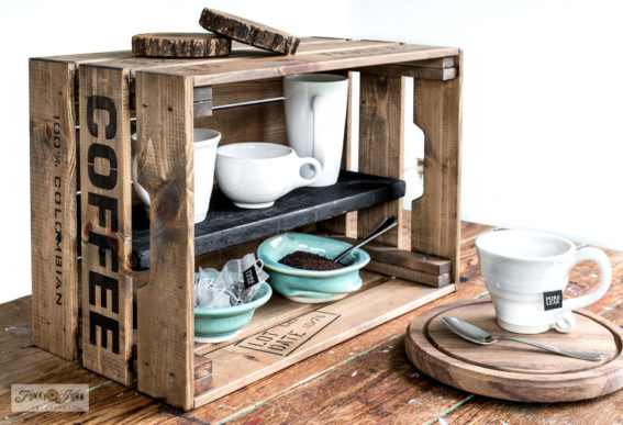 Ikea crate coffee station with Funky Junk's Old Sign Stencils