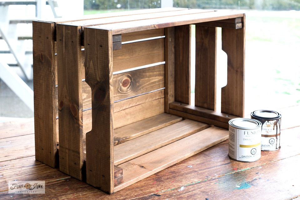 How to stain an Ikea crate with Fusion's Stain and Finishing Oil to give it a rustic appearance!