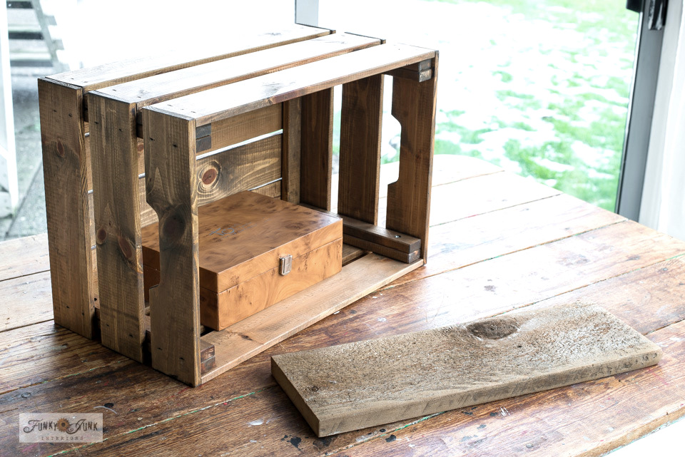 Learn how to make a rustic Ikea crate coffee station with coffee and crate stencils from Funky Junk's Old Sign Stencils! #funkyjunkinteriors #ikea #ikeahack #coffee #coffeestation #crates