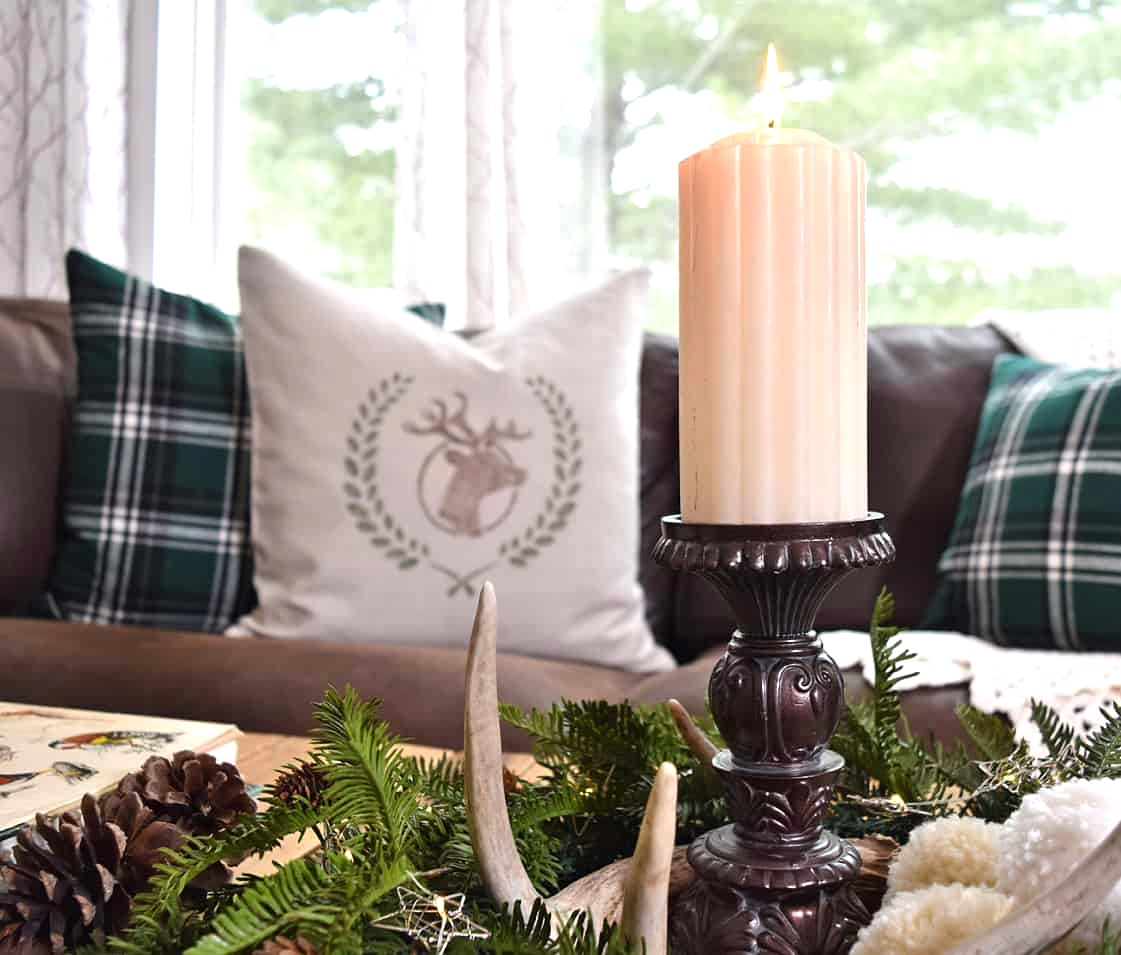 Winter cabin decor by Lora B, featured on DIY Salvaged Junk 511 on Funky Junk Interiors.