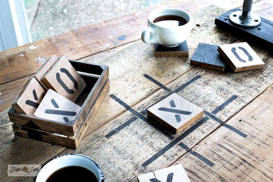 Learn how to make this scrap wood tic tac toe game tray with coasters from a Valentine's Day stencil!
