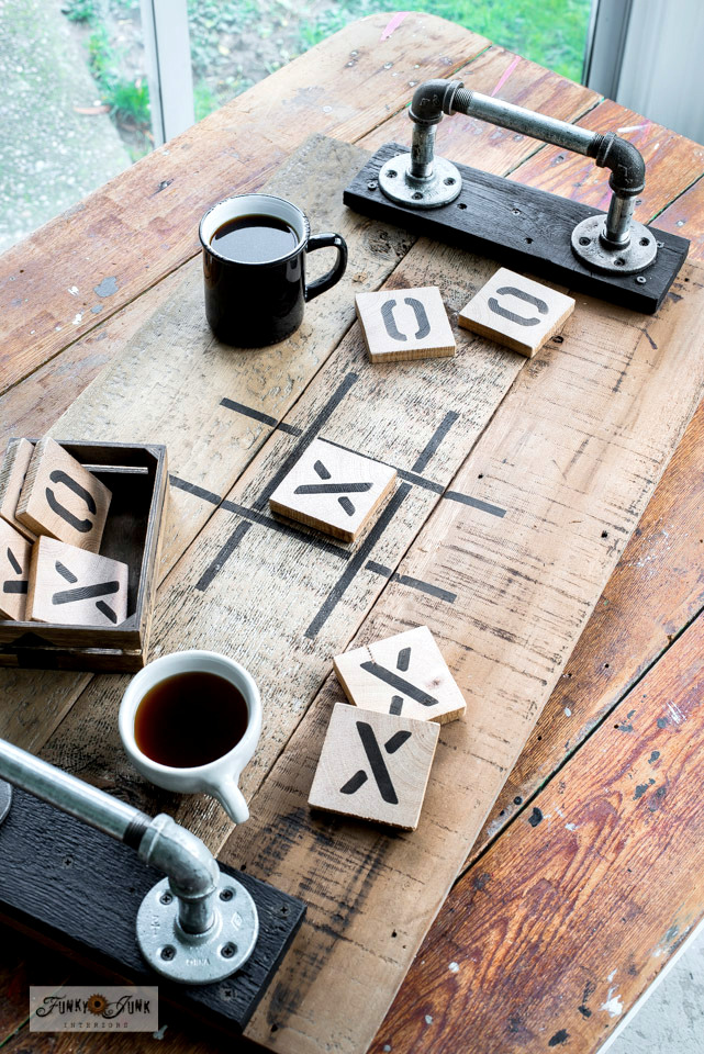 Learn how to make this Tic Tac Toe tray game and coasters using scrap wood and a stencil from Funky Junk's Old Sign Stencils! Click for full tutorial and stencil info.