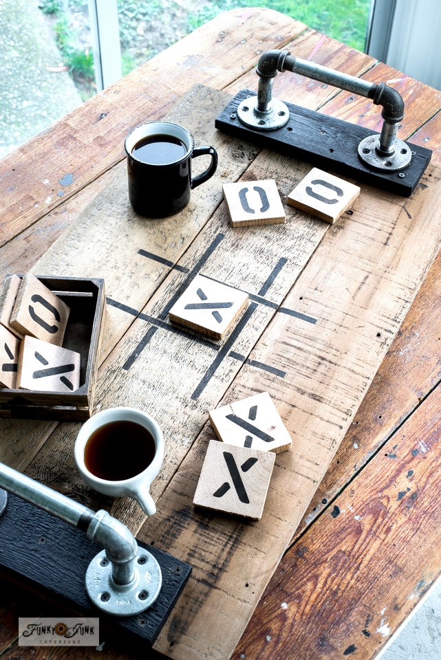 Learn how to make this Tic Tac Toe game tray with wood scraps! From a Valentine's Day stencil. #valentinesday #hearts #tictactoe