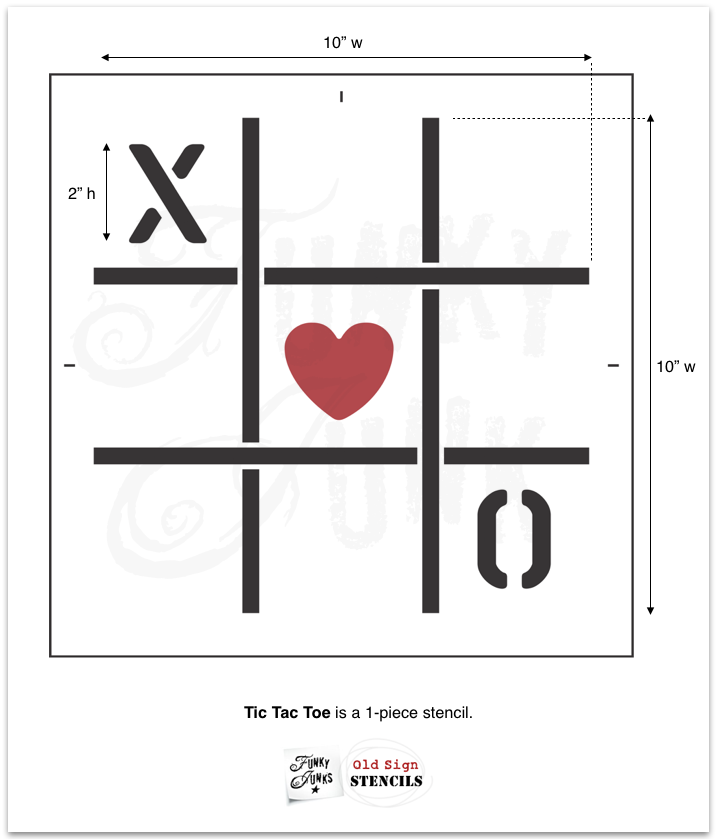 Tic Tac Toe stencil is a Valentine's Day themed stencil by Funky Junk's Old Sign Stencils