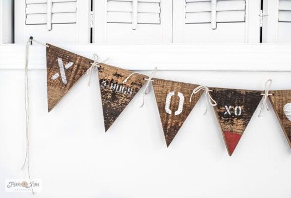 Wood Valentine's Day banner