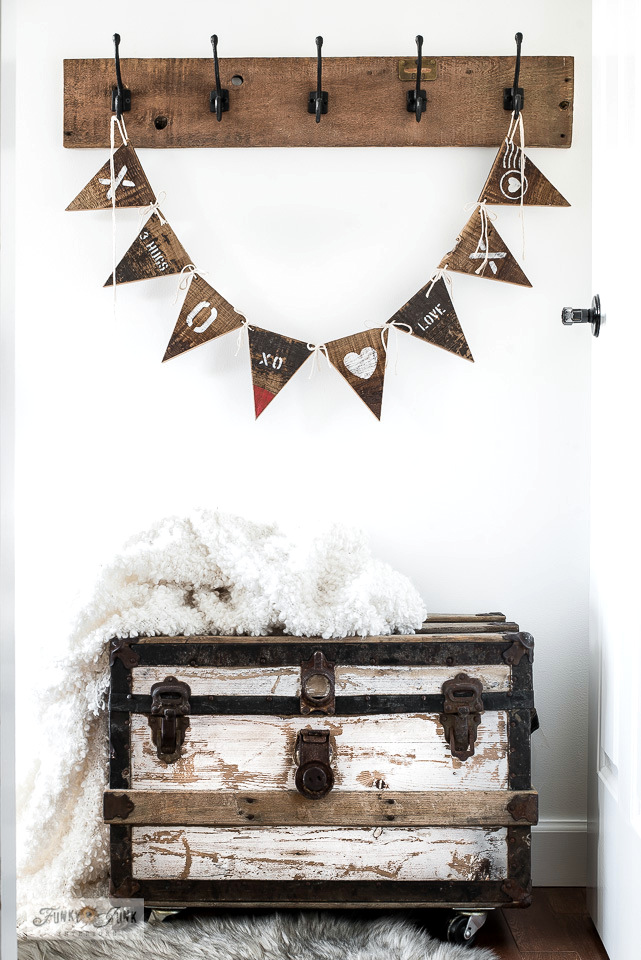 Learn how to DIY a Valentine's Day banner from reclaimed wood!