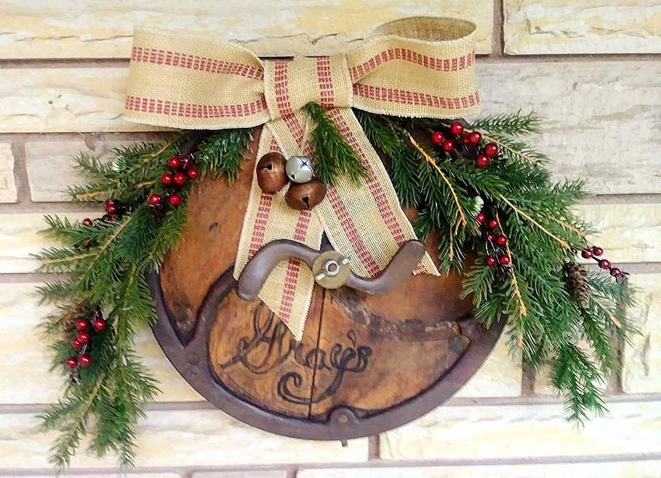 Antique Christmas pulley wreath by Junky Encores, part of a DIY Salvaged Junk Projects 508 feature on Funky Junk Interiors