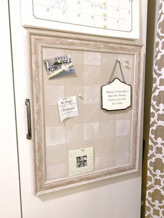 Buffalo Checked bulletin board by Homeroad, featured on Funky Junk's DIY Salvaged Junk Projects 509