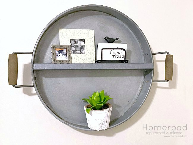Galvanized farmhouse tray wall shelf by Homeroad, featured on DIY Salvaged Junk Projects 510 on Funky Junk Interiors