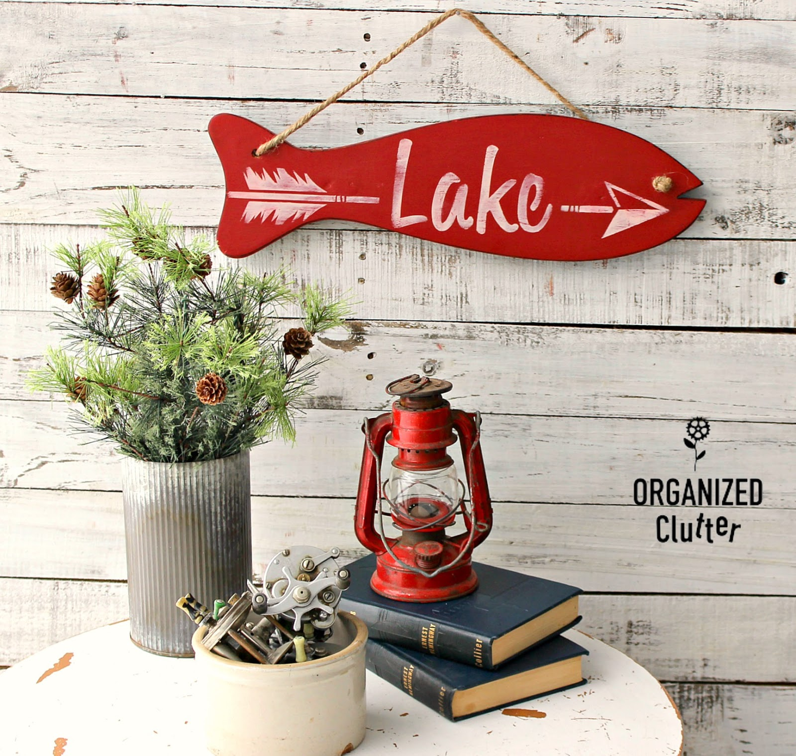Fishing rod holder Lake sign by Organized Clutter, featured on DIY Salvaged Junk 511 on Funky Junk Interiors.