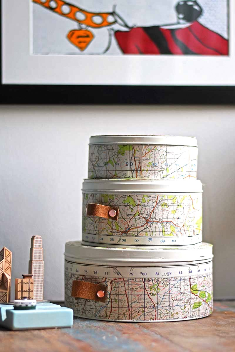 Map covered cookie tin craft storage by Pillar Box Blue, featured on Funky Junk's DIY Salvaged Junk Projects 509