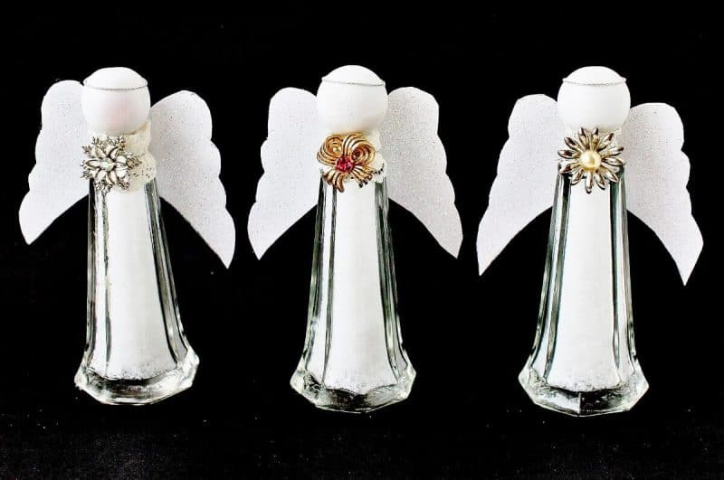 Salt shaker Christmas angels by Adirondack Girl at Heart, featured on Funky Junk's DIY Salvaged Junk Projects 509