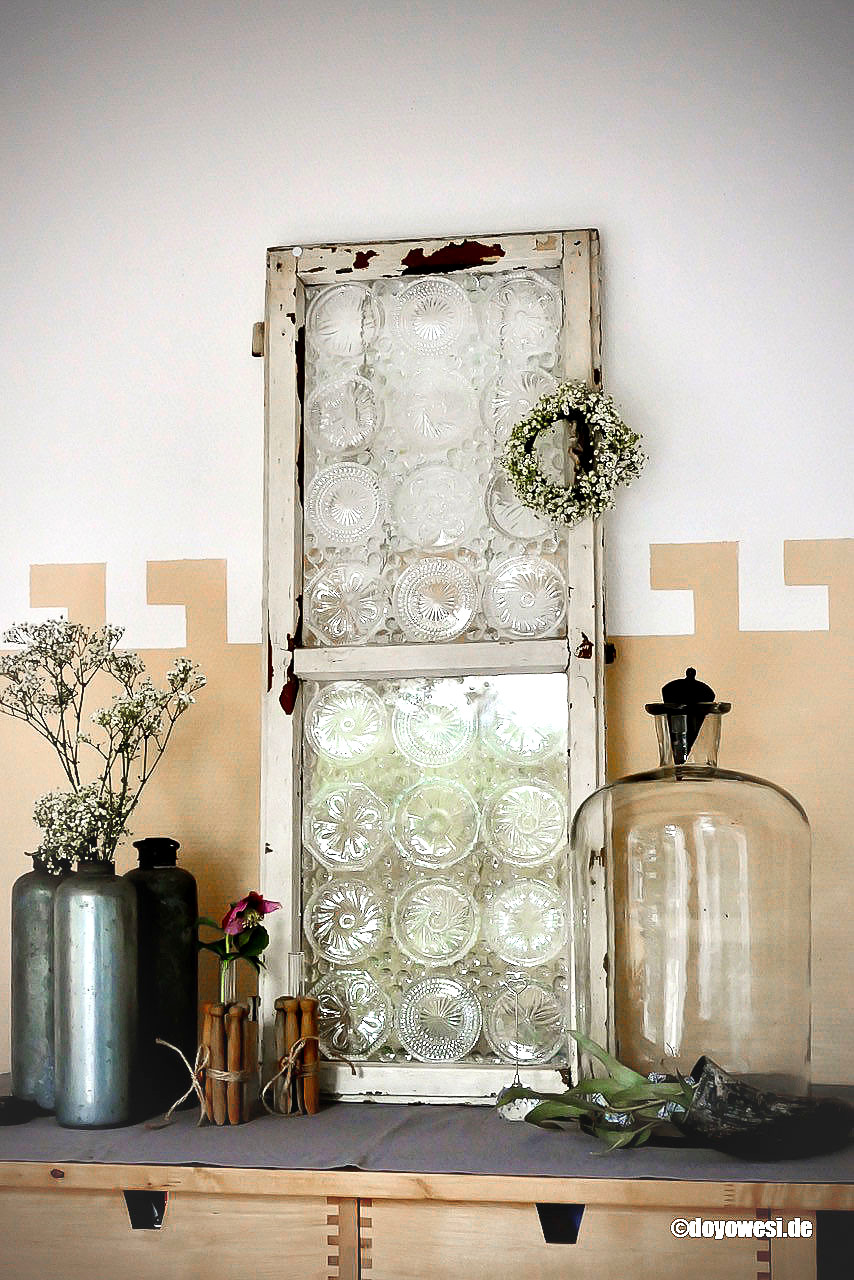 Vintage window with glass coasters by Karin Urban Natural Style, featured on DIY Salvaged Junk 511 on Funky Junk Interiors.