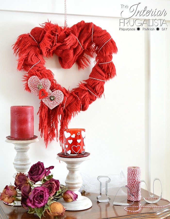 Valentine's Day scarf wreath by Interior Frugalista, featured on DIY Salvaged Junk Projects 513 on Funky Junk!