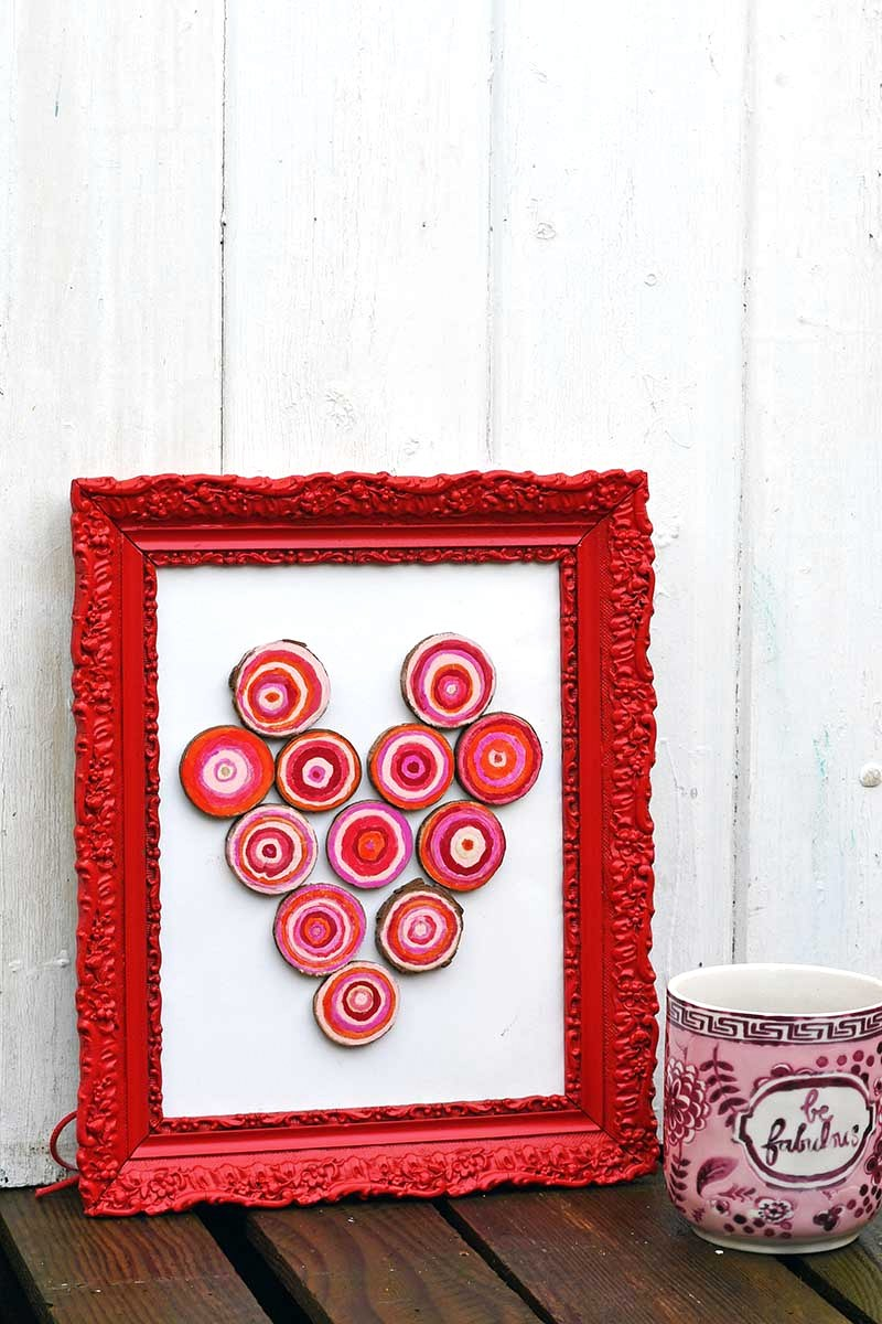 Wood slice heart art by Pillar Box Blue, featured on DIY Salvaged Junk Projects 513 on Funky Junk!