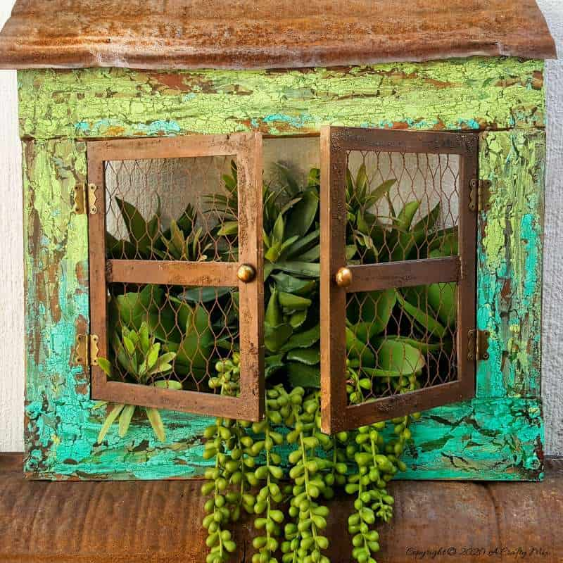Chippy picture frame window planter by A Crafty Mix, featured on DIY Salvaged Junk Projects 513 on Funky Junk Interiors, part of an up-cycled link party!