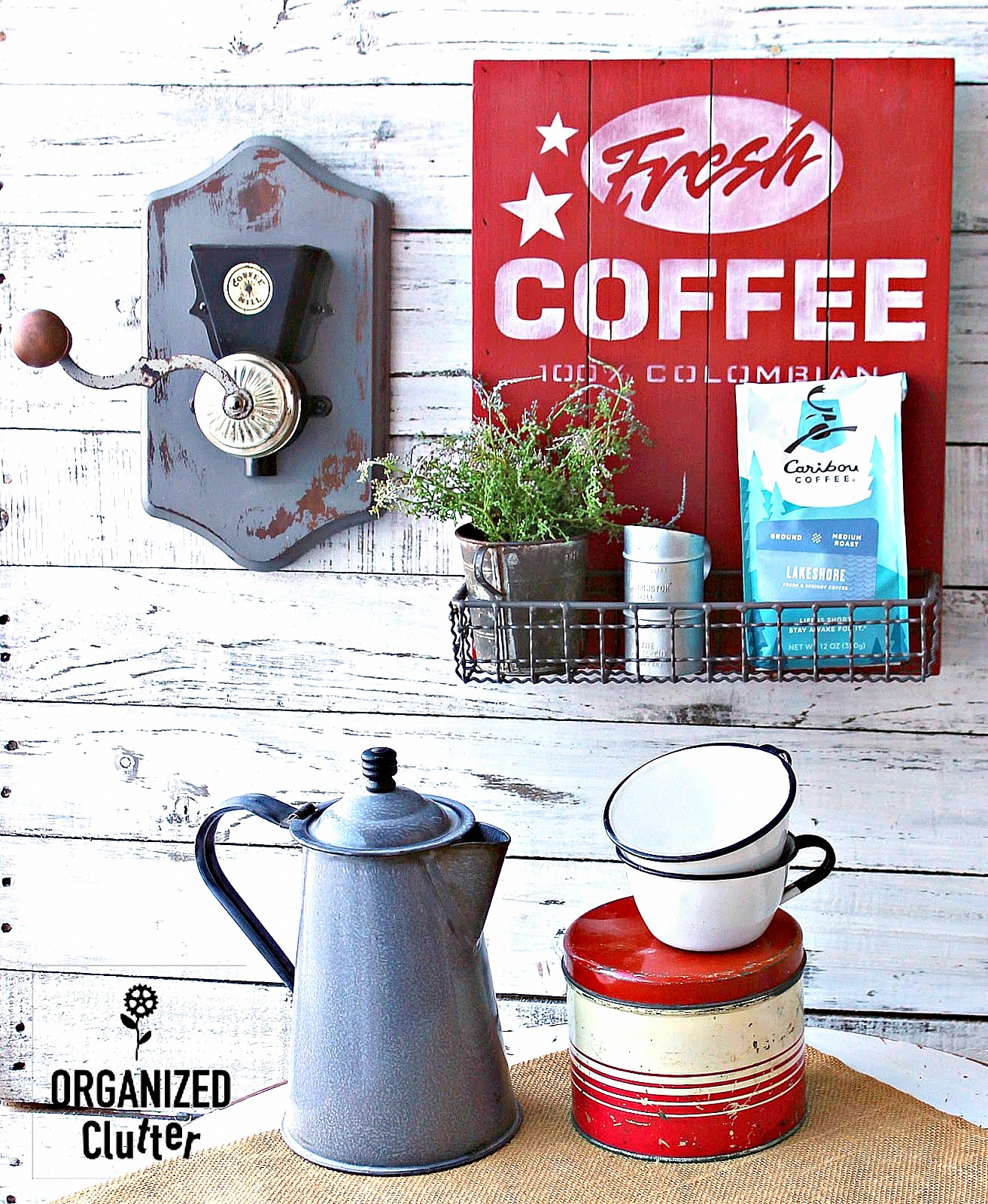 Coffee decor by Organized Clutter, featured on DIY Salvaged Junk Projects 513 on Funky Junk Interiors, part of an up-cycled link party!