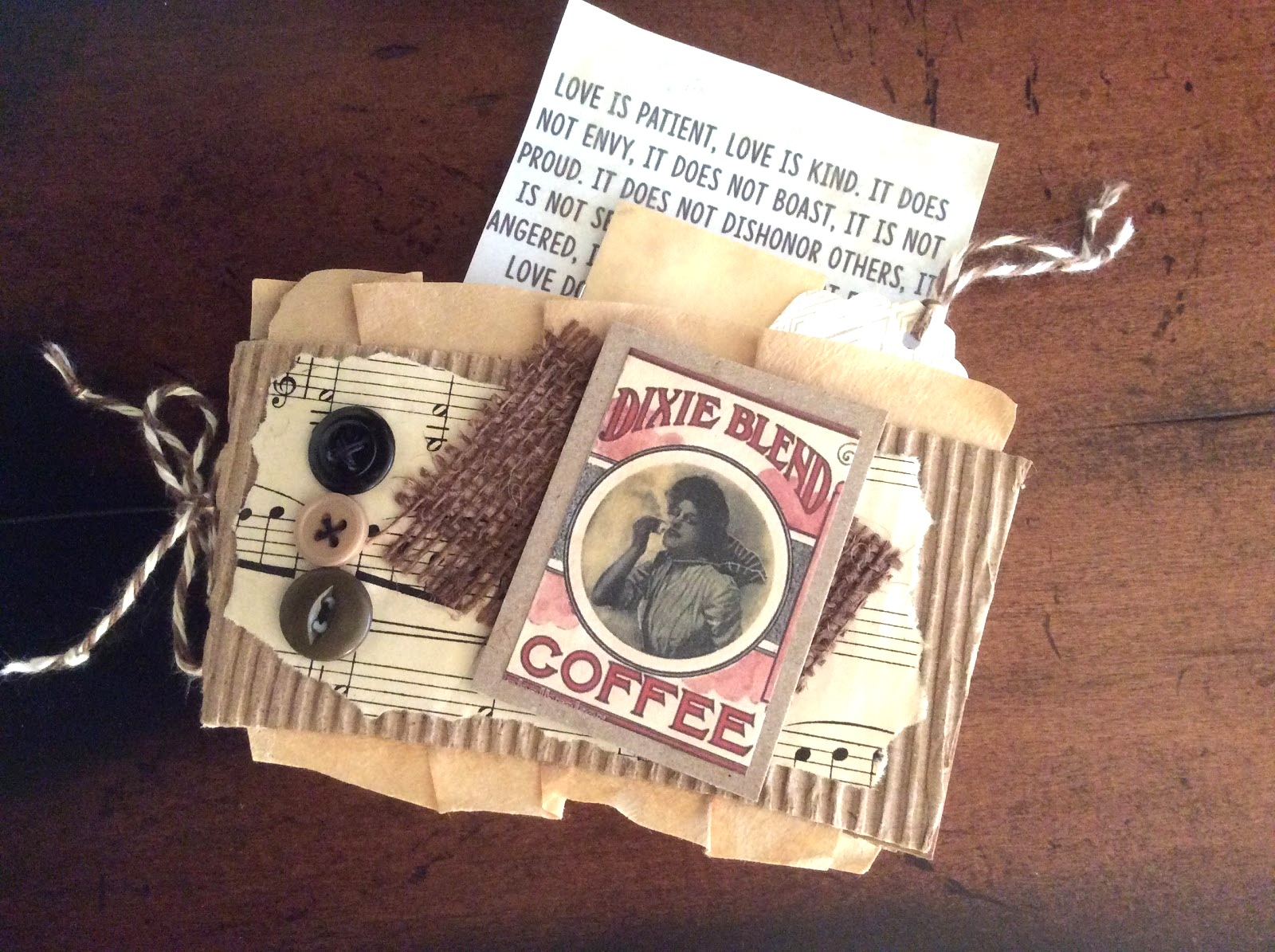 Coffee sleeve mini journal / gift card holder by Fresh Vintage by Lisa S, featured on DIY Salvaged Junk Projects 513 on Funky Junk Interiors, part of an up-cycled link party!
