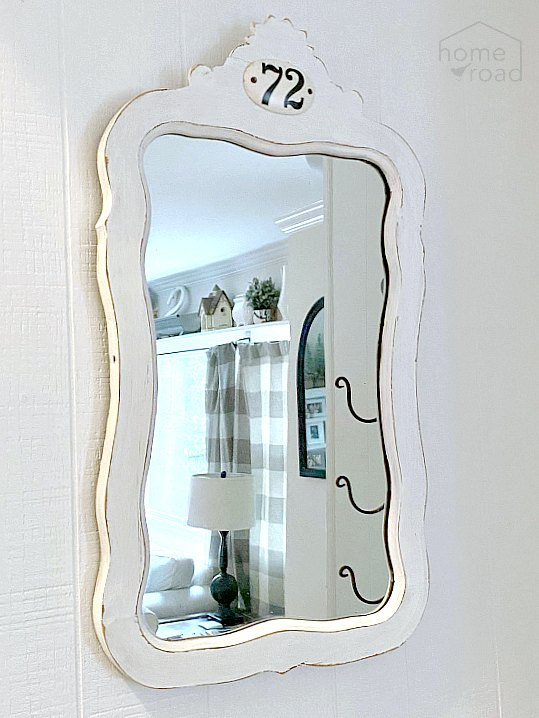 Antique farmhouse mirror makeover by Homeroad, featured on DIY Salvaged Junk Projects 513 on Funky Junk!