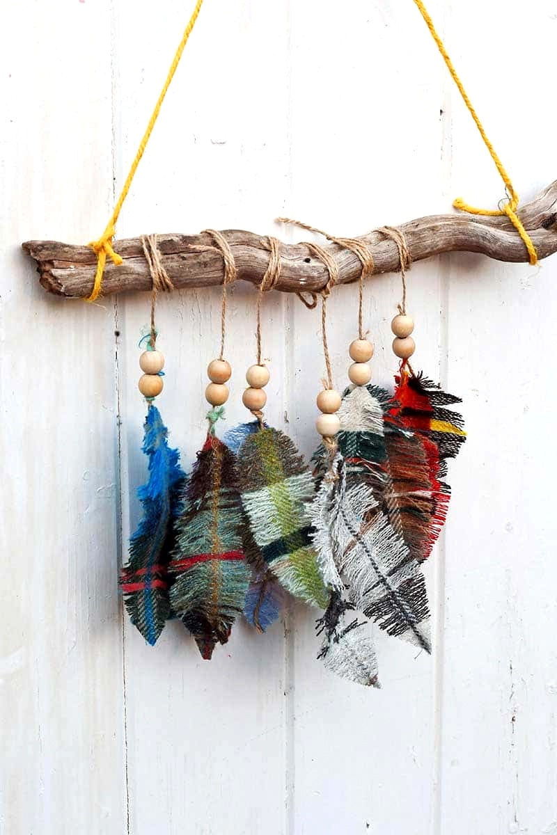 DIY fabric scrap feathers by Pillar Box Blue, featured on Funky Junk Interiors.