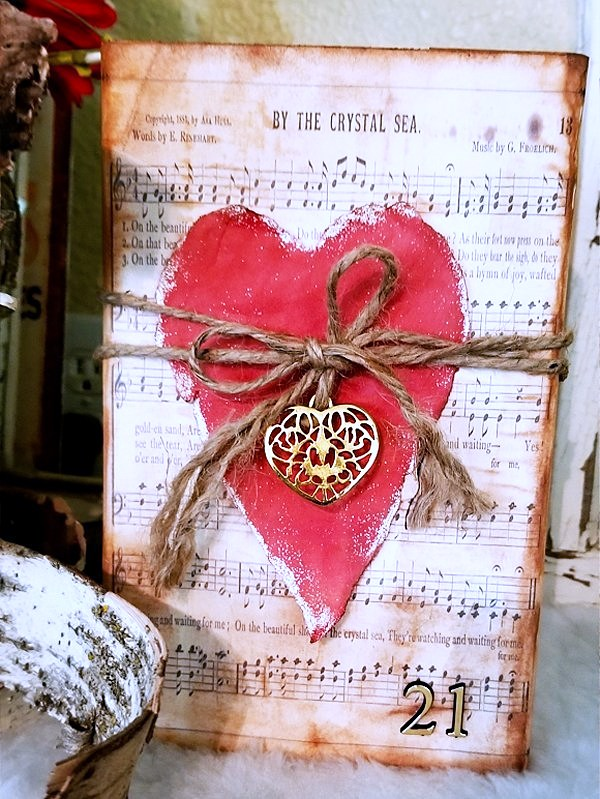 Paper heart wood art by Kim & Ink, featured on DIY Salvaged Junk Projects 513 on Funky Junk!