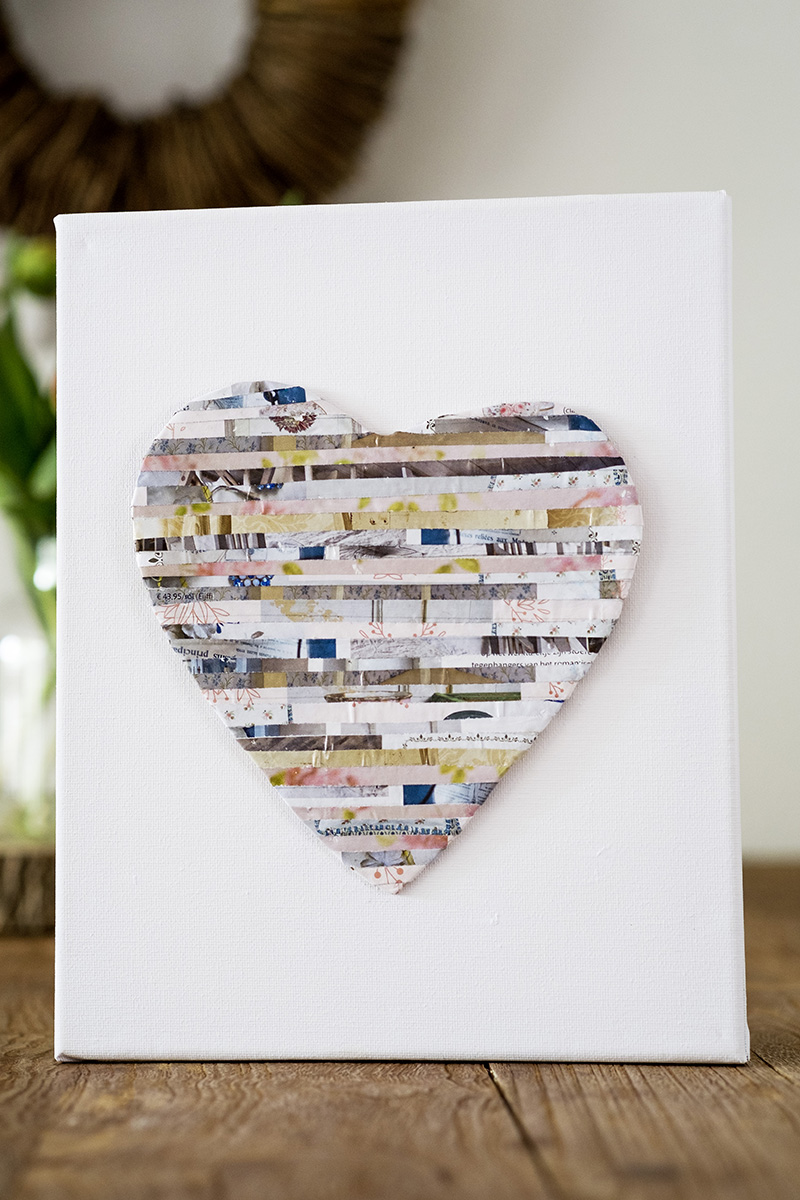 Paper strips heart art by Elsa R Blog, featured on DIY Salvaged Junk Projects 513 on Funky Junk!