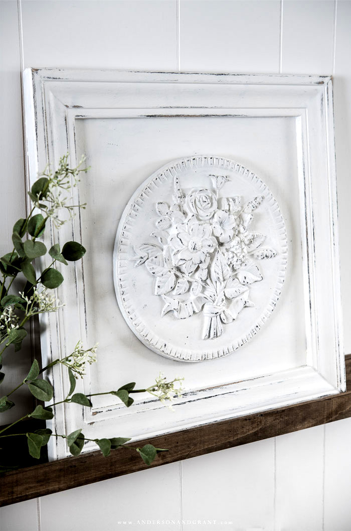 DIY framed plaster medallion wall art by Anderson and Grant, featured on DIY Salvaged Junk Projects 513 on Funky Junk Interiors, part of an up-cycled link party!
