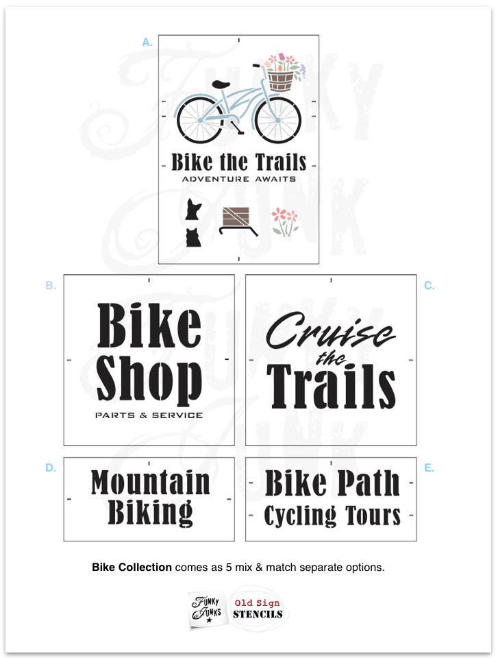Design your own bike AND bike saying with Bike Collection, a 5-piece stencil collection designed to mix & match with each other to create endless creative spring and summer sign stencil capabilities! Funky Junk's Old Sign Stencils