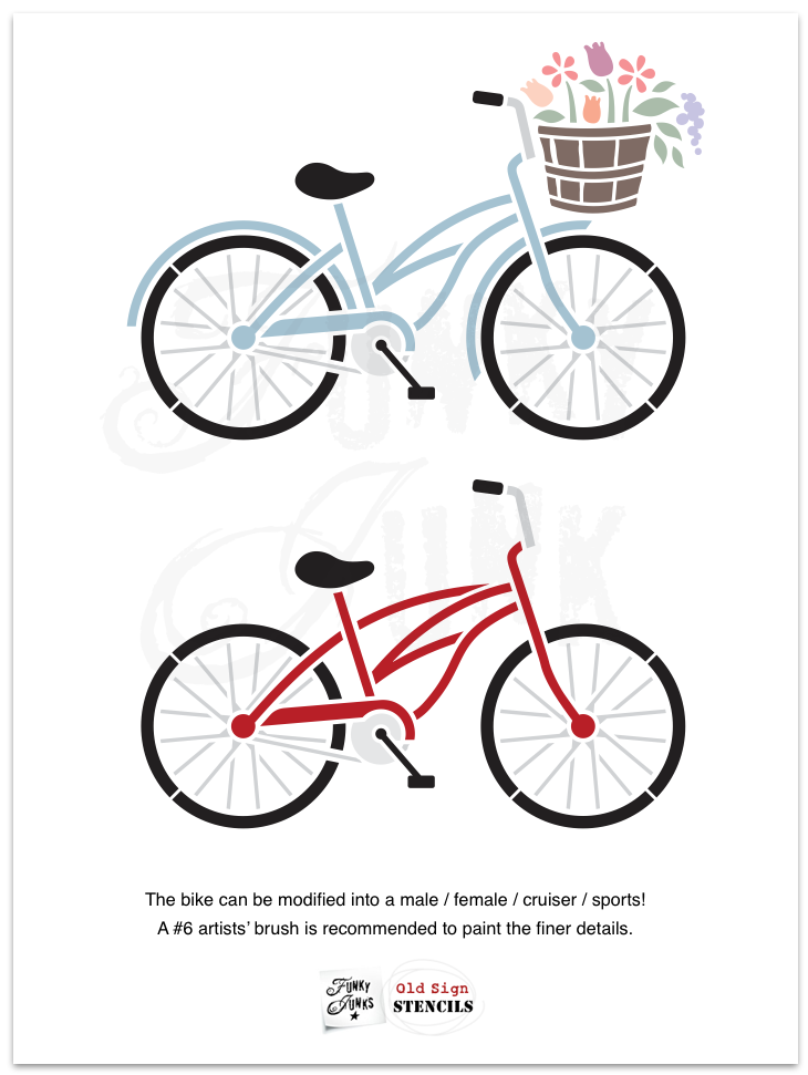 Bike Collection stencils - A bike kit and various sayings so you can make the bike and sign of your choice! By Funky Junk's Old Sign Stencils #oldsignstencils #stencils #signs #bike