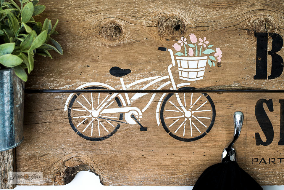 Learn how to make this easy bike shop stenciled sign to hang up your own bike gear, with the Bike Collection stencils from Funky Junk's Old Sign Stencils! #oldsignstencils #bike #stencils #funkyjunkinteriors #signs