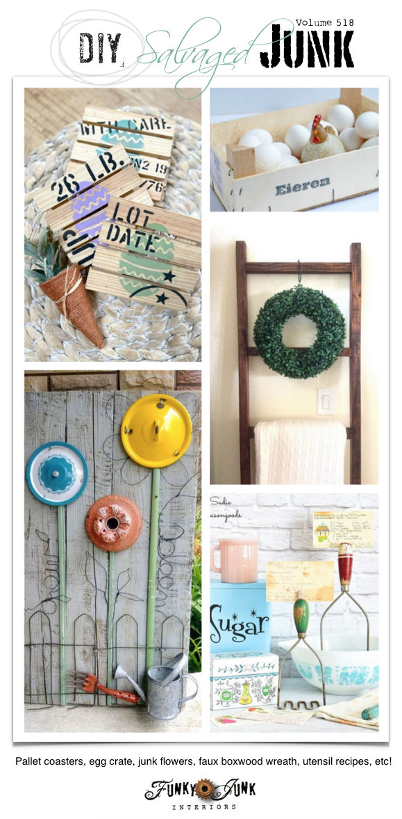 DIY Salvaged Junk Projects 518 - Pallet coasters, egg crate, junk flowers, faux boxwood wreath, utensil recipes, etc! Up-cycled features and link party on Funky Junk. Join in!
