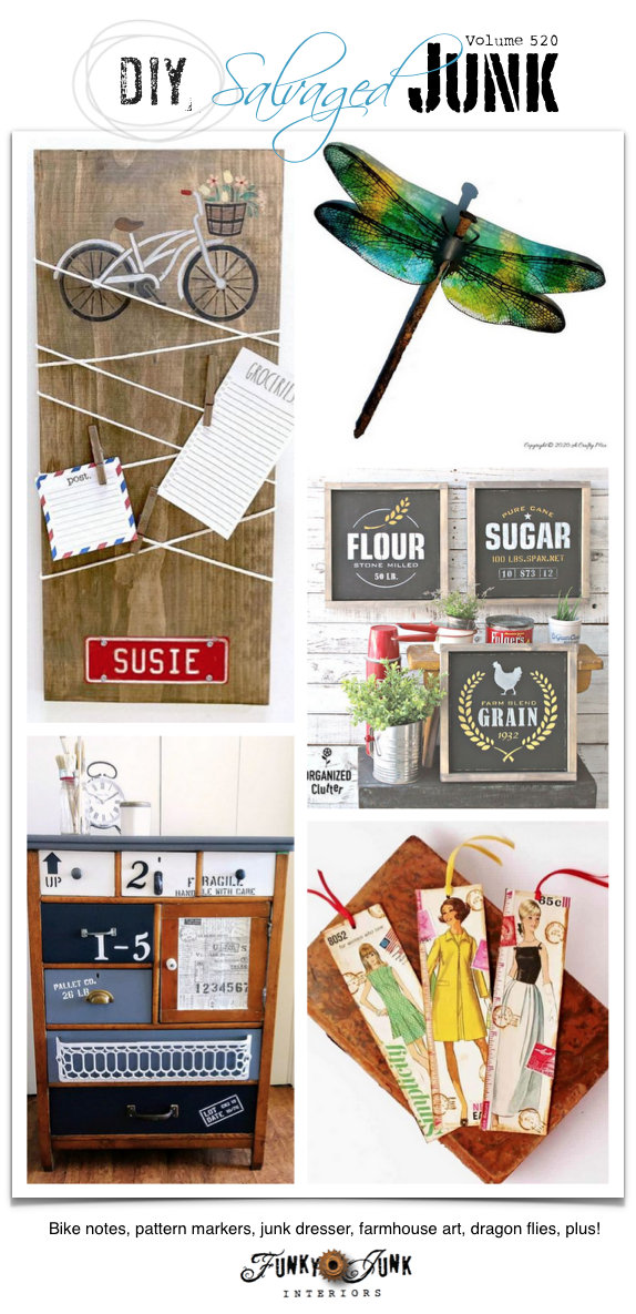 DIY Salvaged Junk Projects 520 - Bike notes, pattern markers, junk dresser, farmhouse art, dragon flies, plus! Up-cycled project features and link party on Funky Junk! Come link up!