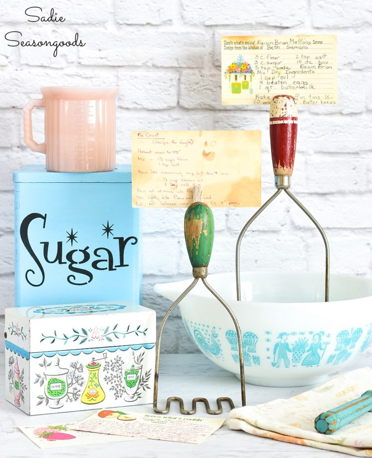 Vintage kitchen utensil recipe holder by Sadie Seasongoods, featured on DIY Salvaged Junk Projects 518 on Funky Junk!