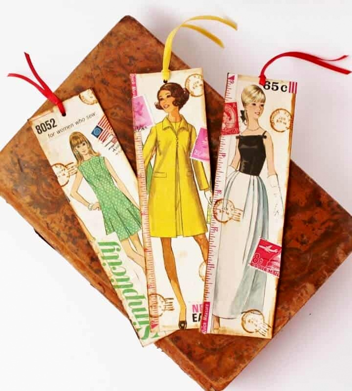 Vintage sewing pattern bookmarks by Adirondack Girl at Heart, featured on DIY Salvaged Junk Projects 520, at Funky Junk!