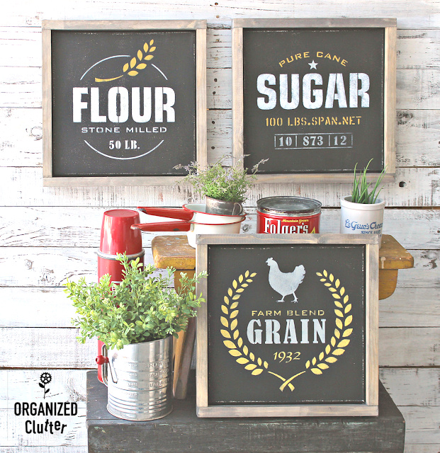 Stenciled farmhouse kitchen wall art by Organized Clutter, featured on DIY Salvaged Junk Projects 520, at Funky Junk!