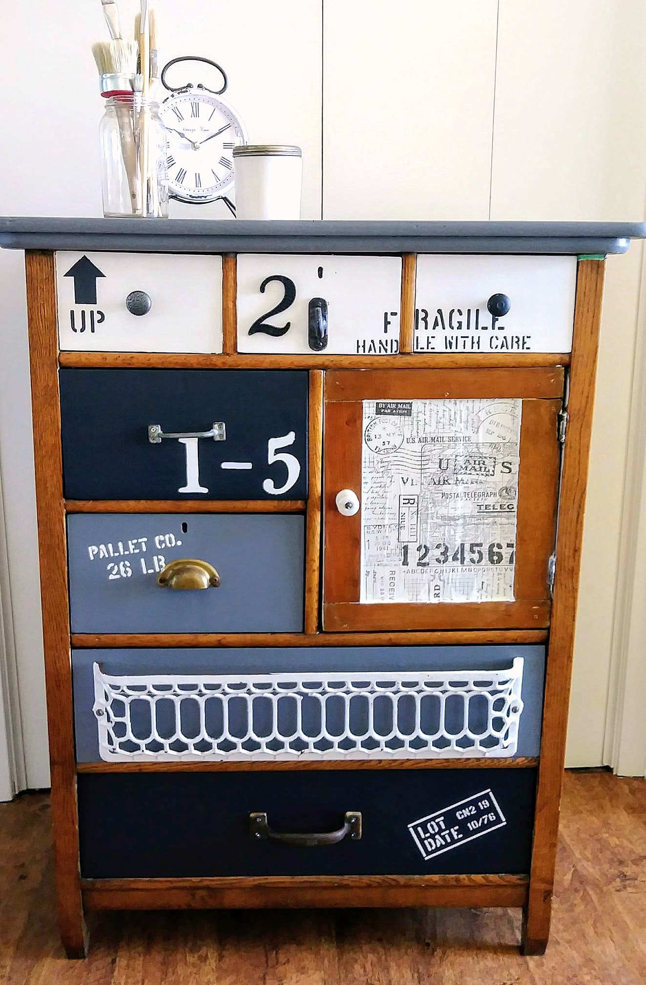 Antique junk dresser makeover by Junky Encores, featured on DIY Salvaged Junk Projects 520, at Funky Junk!