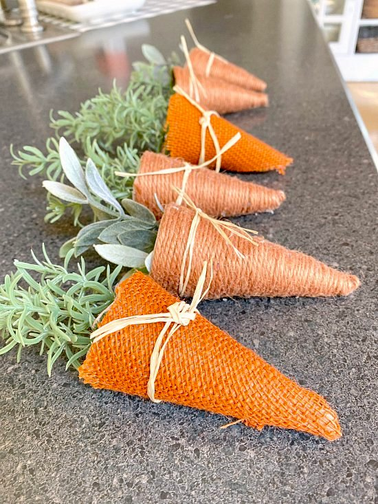 Jute carrot banner by Homeroad, featured on DIY Salvaged Junk Projects 519 on Funky Junk!