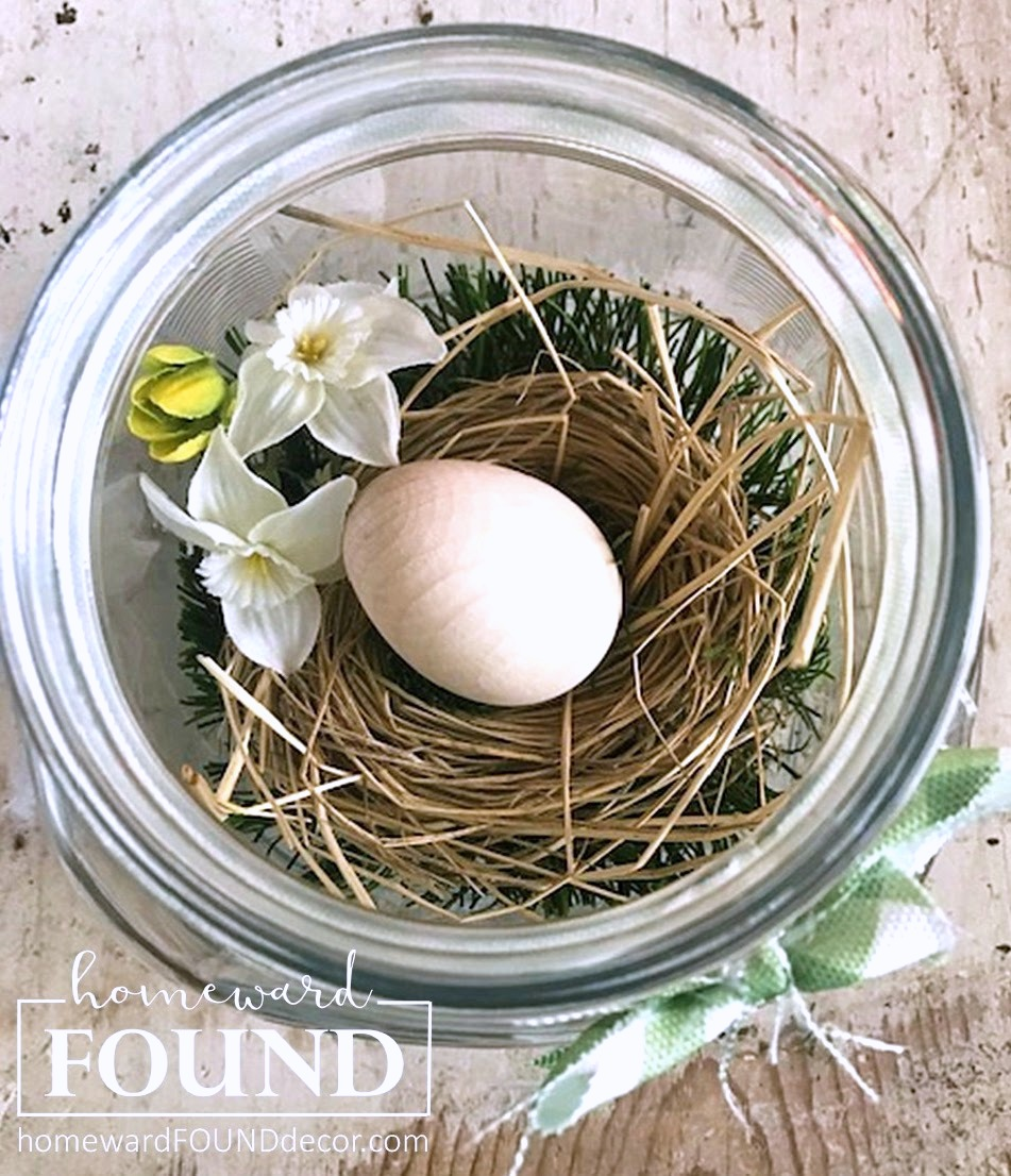 Jar spring birds' nest by Homeward Found, featured on DIY Salvaged Junk Projects 519 on Funky Junk!