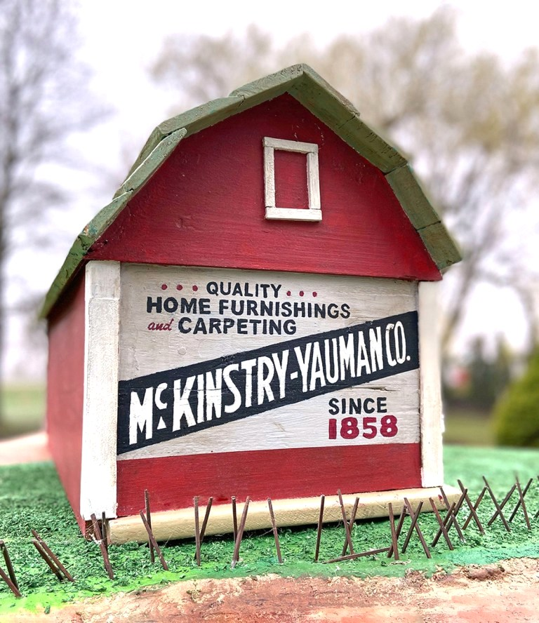 Miniature barn sign advertising by Wisconsin Magpie, featured on DIY Salvaged Junk Projects 513 on Funky Junk!