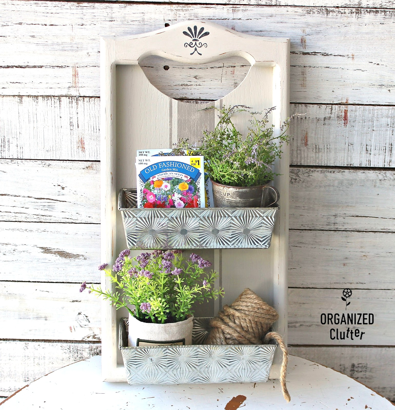 Farmhouse wall bin decor by Organized Clutter, featured on DIY Salvaged Junk Projects 521 on Funky Junk!