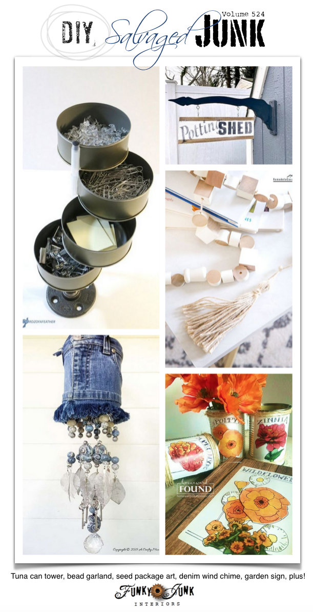 DIY Salvaged Junk Projects 524 - Tuna can tower, bead garland, seed package art, denim wind chime, garden sign, plus! Features and an up-cycled link party. Join in!