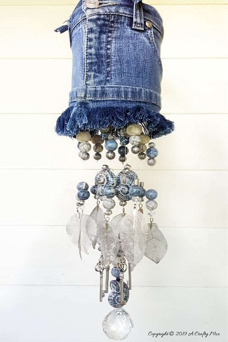 Denim and beads wind chime by A Crafty Mix, featured on DIY Salvaged Junk Projects 524 on Funky Junk!
