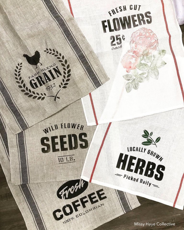 Farmhouse stenciled tea towels by Missy Haye Collective