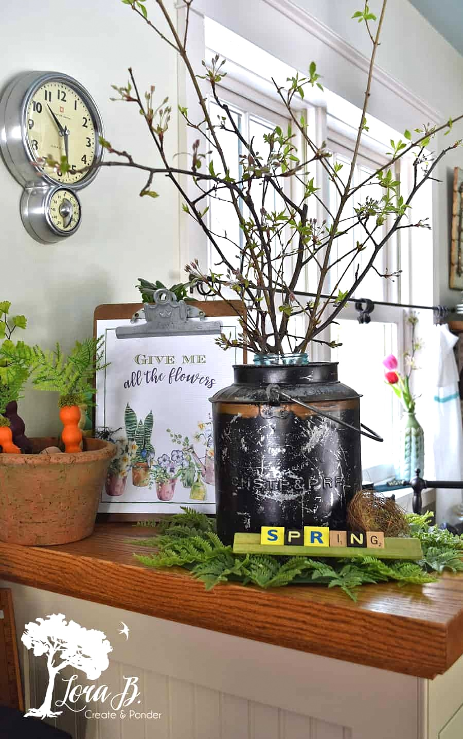 Vintage farmhouse spring decorating by Lora B, featured on DIY Salvaged Junk Projects 513 on Funky Junk!