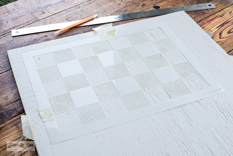 Learn how to customize your own checkers gameboard with a Buffalo Check stencil!