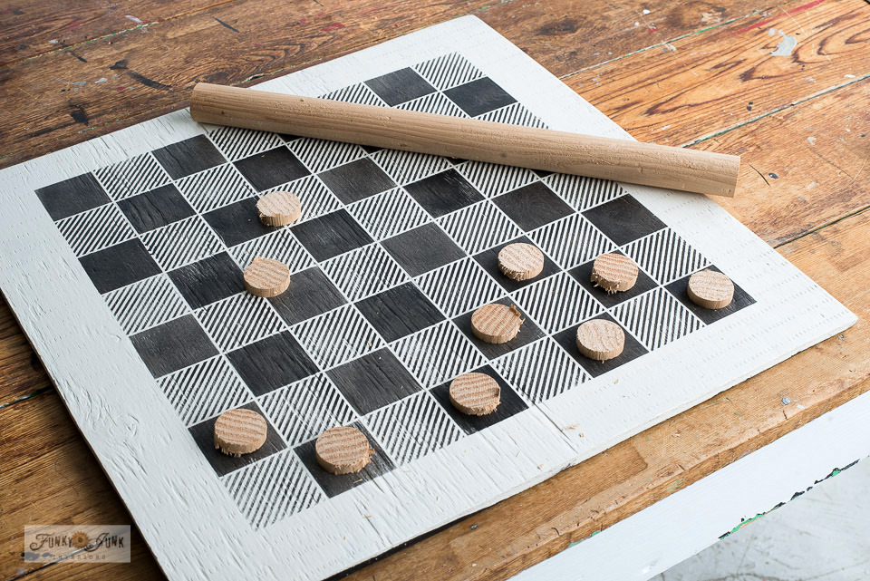 Learn how to DIY your own custom checkers game with a Buffalo Check stencil, closet dowel and plywood! Click for full tutorial.