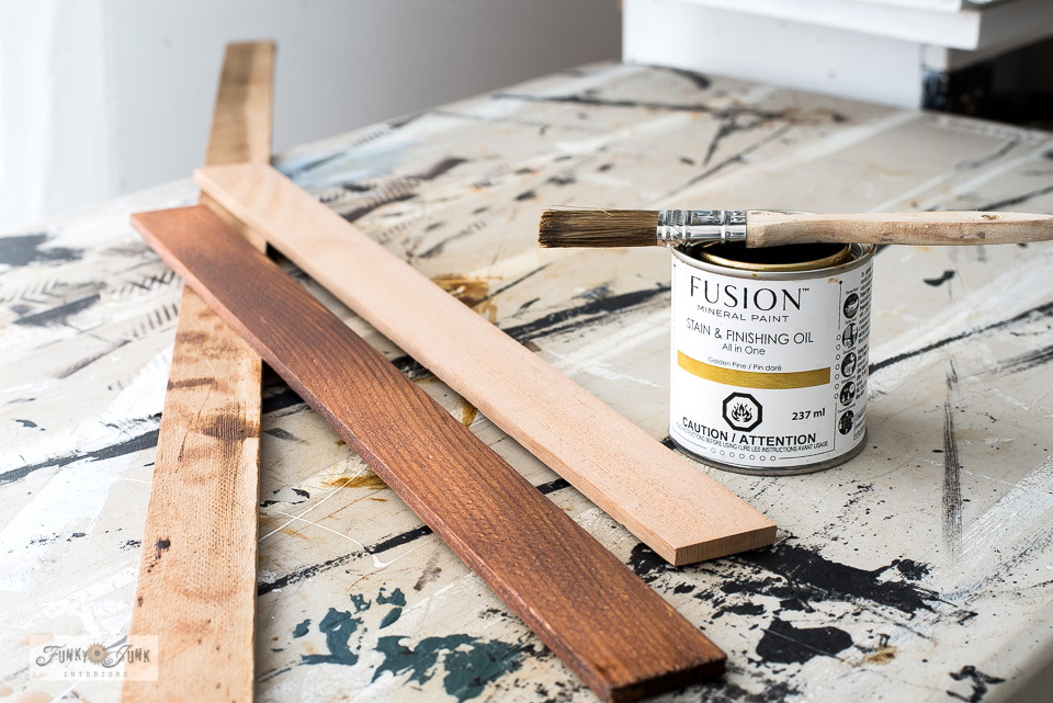 Learn how to stain cedar strips to create a DIY Checkerboard game frame.